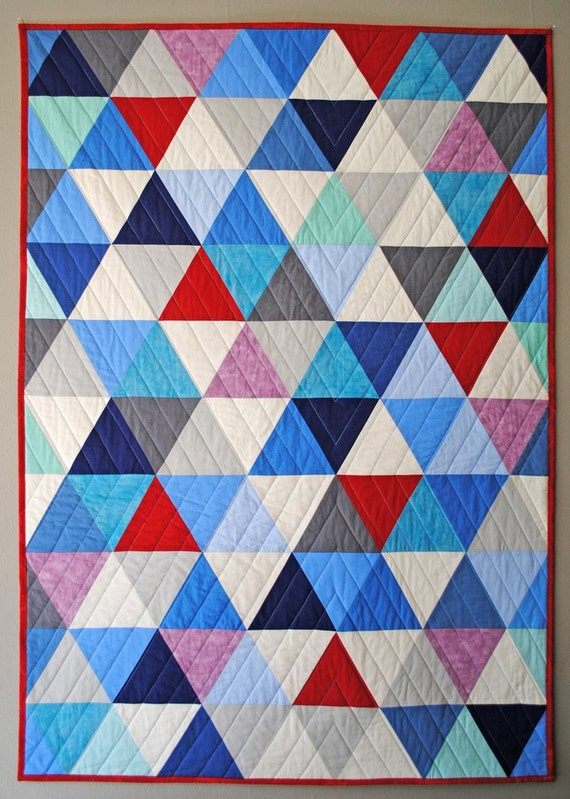 Quilt Designs With Triangles : OOAK Equilateral Triangles Crib Quilt