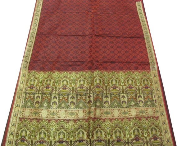 Heavy Rust Orange Vintage Satin Silk Sari Used Saree