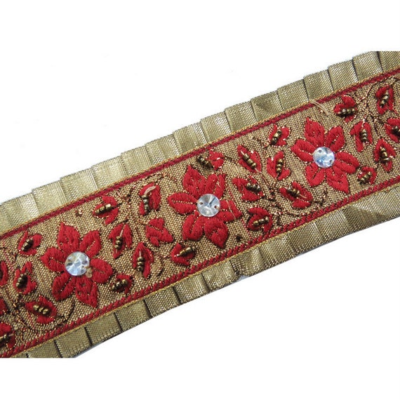Red Beaded Sewing Trim Indian Sari Border Craft Ribbon Traditional Lace New Trim - BT271A