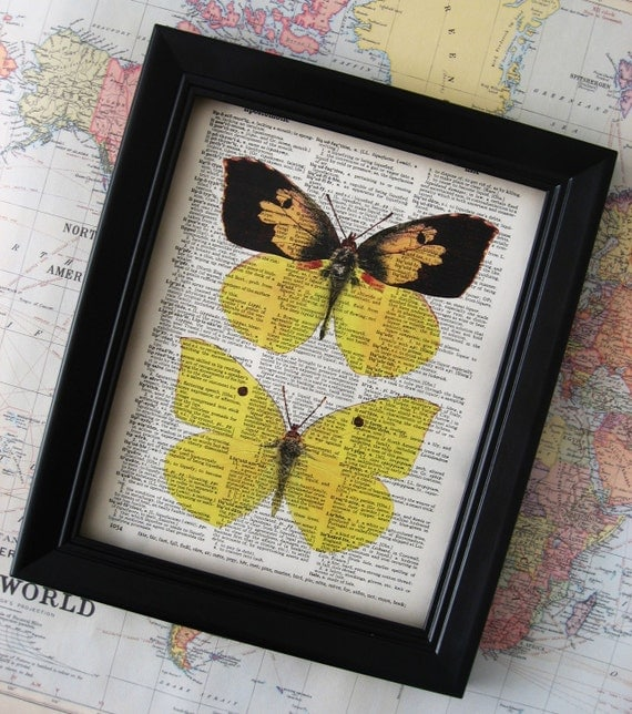 FREE Shipping Yellow Butterfly Illustration - Vintage Dictionary Art Print - 8 x 10 - FREE Shipping Worldwide