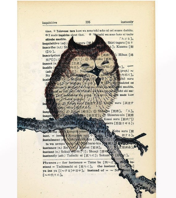 Vintage Owl Print Owl on branch art print Antique Japanese Dictionary Book Page Print - upcycled wall decor print - 5 x 7