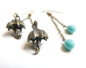 Umbrella retro earrings ( asymmetrical, blue, drop, sky blue, raining, kawai, funny, weather ) 07