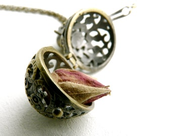 Rosebud and wish box necklace pendant ( pirate, treasure, textured, rose perfume, antique, filigree, love ) 63