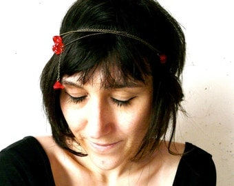 Poppy Red flower headband ( french, roaring twenties, robins egg, multi chains, womens, spring acessory, botanical, floral ) 16