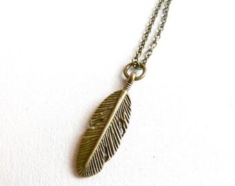 Navajo Feather necklace ( inca queen, bird, brass antiqued, elegant, simple, nature symbol, tribal, native ) 08