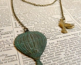 Old world Hot air balloon necklace pendant ( escape, jules vernes, star, bird, sky, verdigris, travel ) 72
