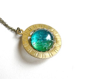 Spinning Necklace ( blue, green, galaxy, geometric, planet, translucent, pink, round ) 22