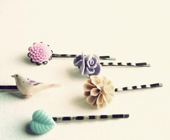 hair flowers ( 5, bird, pastel, pink, purple, phlox, floral, leaf, cream, hairpins, vintage, jam, romance ) 10