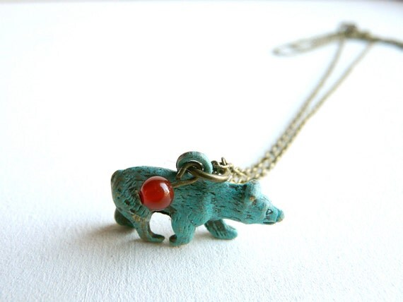 Blue bear necklace pendant ( totem, french, winter color, wild, cheyenne, carnelian, teddy bear, animal, forest) 03