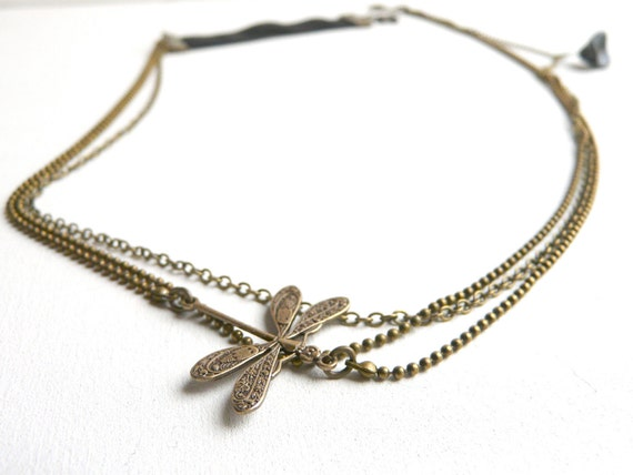 Multi chains headband ( dragonfly, brass antiqued, black, head band, womens, spring accessory, flower, botanical ) 02