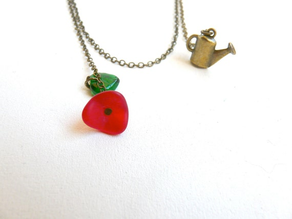 Poppy assymetrical necklace pendant ( flower, watering, retro, vintage, red, green, upcycled recycled, botanical ) 17
