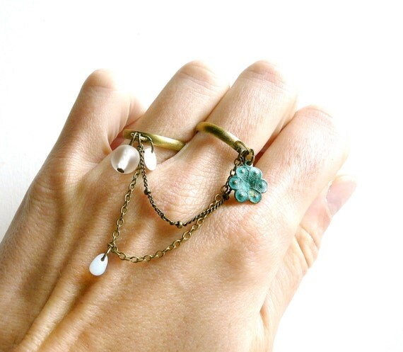 Shabby chic double ring ( snow white, verdigris, multi strands, multi chains, flower, brass, drops, chain, love ) 45
