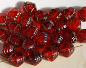 6 - 8mm Czech Glass Beads-Ruby and Moss Green-Pressed Glass Beads-Diamond Bicone-Siam Red- Loose Beads-Jewelry Supplies-Beading Supplies