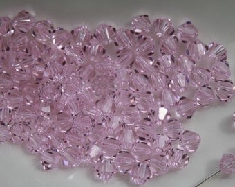 24 - 4mm Rosaline Bicone Swarovski Crystal Pink Rose Series 5301 Genuine Crystallized Loose Beads Jewelry Supplies