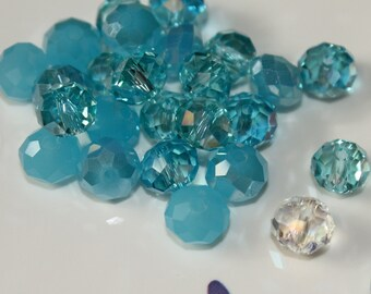 36 - 8x5mm Blue Mix Glass Crystal Rondelle Beads Designer Mix Shades of Blue Opaque Clear Aqua Aquamarine Loose Beads Jewelry Supplies