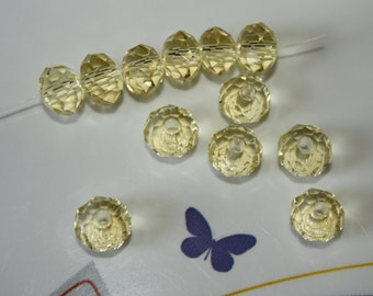 24 - 8x5mm Rondelle-Soft Pale Yellow-Tiara Glass Crystal Bead-Jonquil-Faceted-Loose Beads-Jewelry Making-Beading Supplies-Crystalgemsupplies