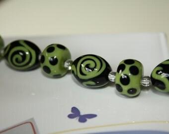 6 - Murano Glass Beads-18mm Barrel Beads-10x15mm Rondelle Beads-Venetian Glass-Italian Murano-Lime Green and Black-Swirls-Polka Dots
