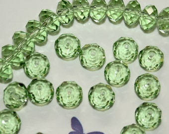 11 - 8x5mm Rondelle-Tiara Crystal-Peridot Green-Glass-Faceted Beads-August Birthstone-Birth Month-Loose Beads-Jewelry Making-Beading
