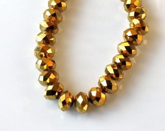 12 - 8x5mm Metallic Gold Rondelle Bead Strand-Faceted Glass Crystals-Tiara Crystals-Loose Beads-Jewelry Beading Supplies