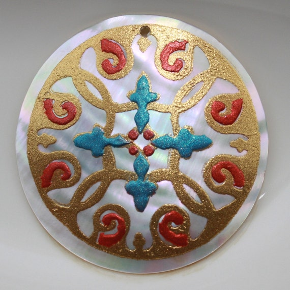 1 - Pendant-Natural Shell-Focal-52mm Round Cabbie-Concave-Philippines-Stenciled andHand Painted-Gold-Orange-Blue-Large Bold Statement