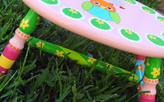 Personalized Kids' Stool Custom Painted Cricket Stool Step Stool Foot Stool Oval Shape Stool Four Legged Kids' Stool