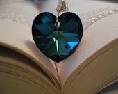 He Loves Me - Bermuda Blue Swarovski Crystal Heart and Sterling Silver Necklace