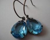 Sea Breeze - Vintage Aqua Glass Jewel Earrings