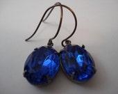 Liz - Vintage Sapphire Blue Glass Earrings