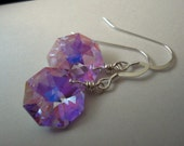 Dollhouse - Handmade Swarovski  Violet AB Octagon Crystals and Sterling Silver Earrings