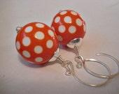 Dotty - Orange Polka Dot Lucite and Sterling Silver Handmade Earrings