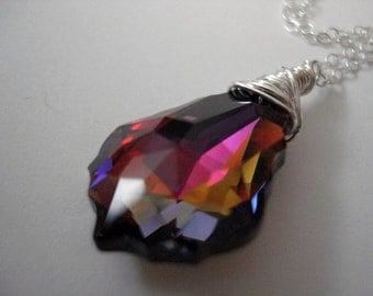 Fruition - Swarovski Violet Volcano Baroque Crystal and Sterling Silver Necklace
