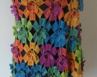 Multi colored long shawl/capelet/warmer/stole/scarf. Perfect for christmas gift