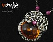 Nostalgia Necklace/Pendant - Silver, Madeira Citrine and Ruby