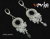 Two Moons Earrings - Silver, White and Gray Moonstone, Rock Crystal