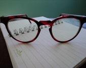 Vintage 80s Red Hipster Indie Eyeglasses