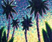 Fine Art - Wall Art - Original Painting - Home Decor - Tropical Palm Trees & Moonlight 5x7 Acrylic Painting - Ed McCarthy - FREE SHIPPING