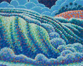 Night Seascape Art Original 8x10 Pointillist Painting by Ed McCarthy free shipping