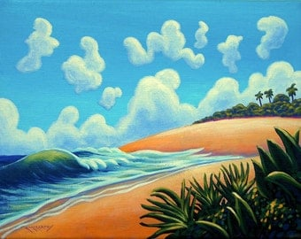 Whimsical Tropical Beach Scene Original 11x14 Painting by Ed McCarthy free shipping