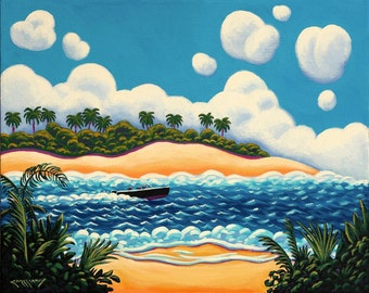 Whimsical Power Boat Original 16x20 Painting by Ed McCarthy free shipping