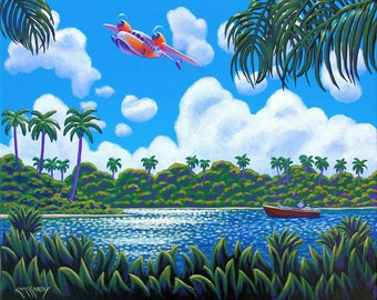 Seaplane and Power Boat Original 16x20 Painting by Ed McCarthy free shipping