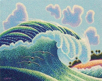 Whimsical Wave Seascape Art Original 16x20 Pointillist Painting by Ed McCarthy free shipping