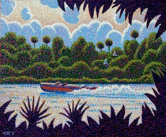 Original Painting - Fine Art - Wall art - Vintage Power Boat Cruising Florida River 20x24 Acrylic Painting - Ed McCarthy - Free Shipping
