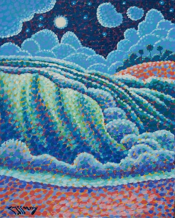 Night Seascape Art Original 8x10 Pointillist Painting by Ed McCarthy free shipping