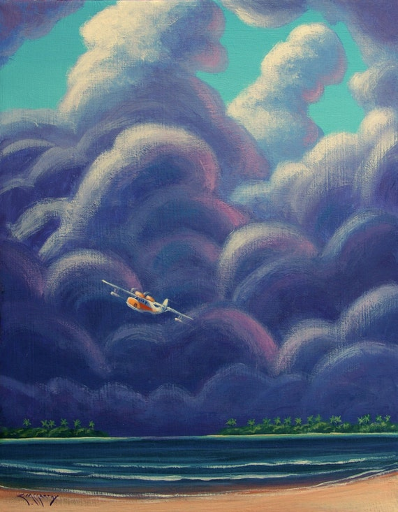 Whimsical Tropical Storm with Seaplane Original 11x14 Painting by Ed McCarthy free shipping