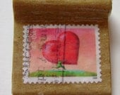 Heart on a Postage Stamp Paper Pendant