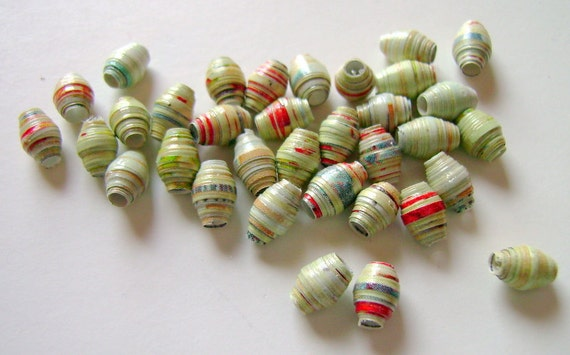 Small Green with Red Paper Beads