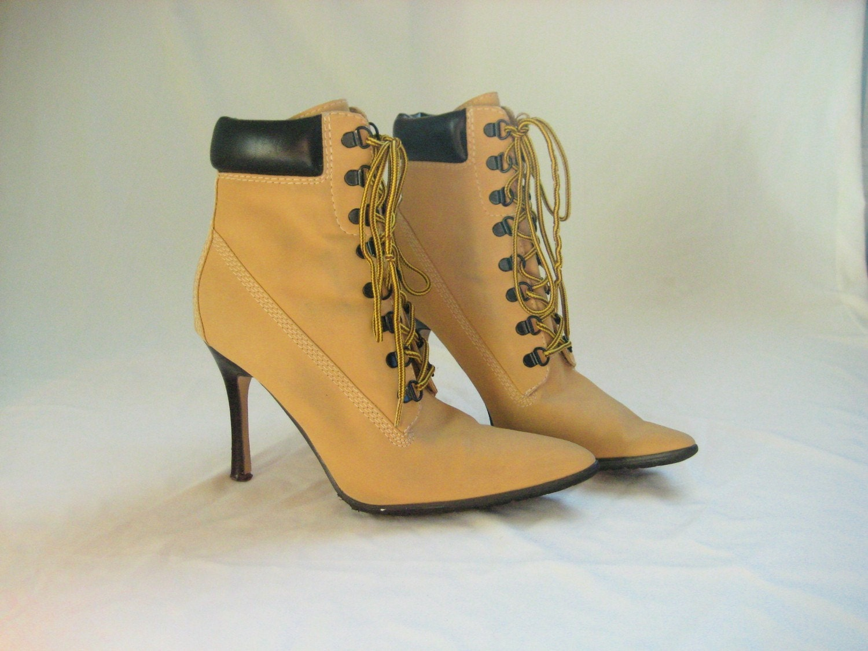 vtg 7 5 timberland manolo style hiking boot heels. Black Bedroom Furniture Sets. Home Design Ideas