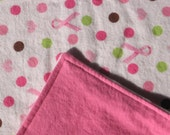 SALE Flannel Baby Blanket Pink Ribbon Breast Cancer Awareness
