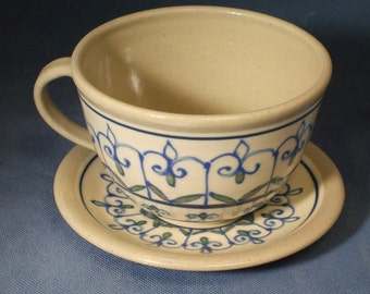 Sale 20% Off  Personal Bowl   Soup Mug  Soup Bowl  and Plate  in Vivid Blue and Victoria Green Accents