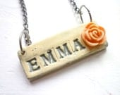 Custom Name Necklace - Shabby Chic soft grey and pink